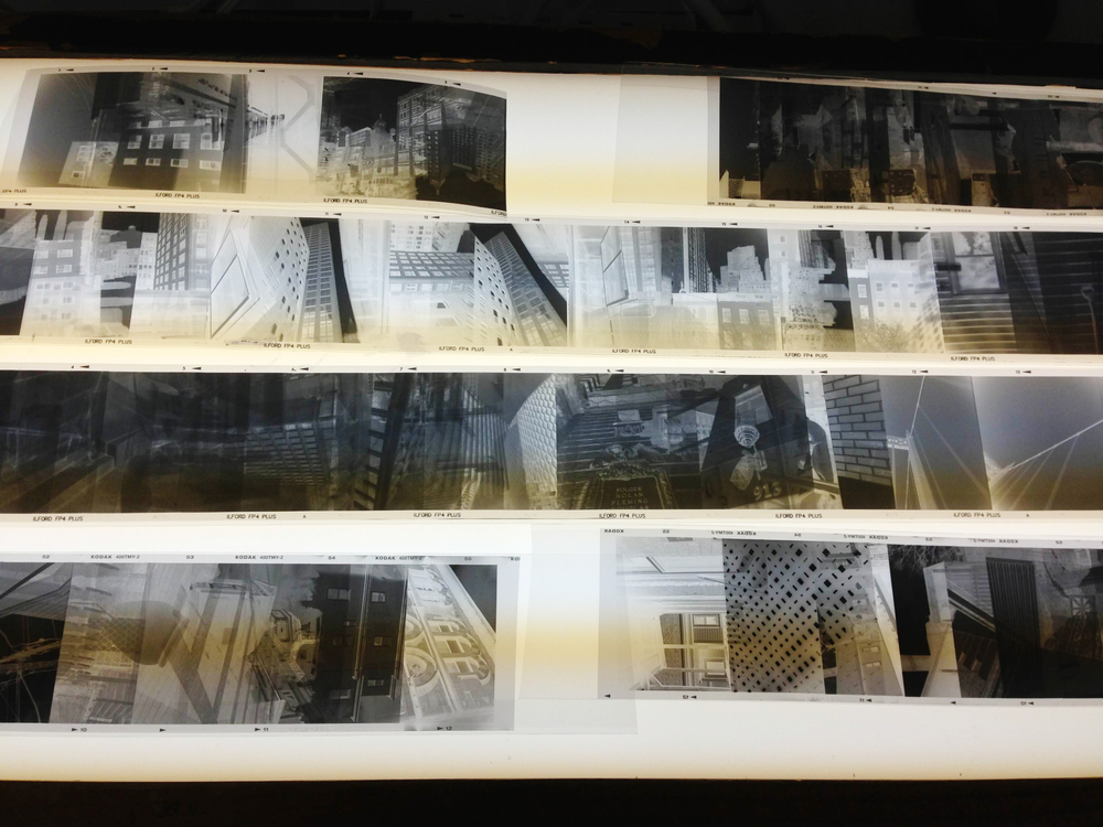 Negative strips on light table