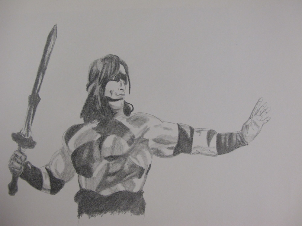 Arnold Schwarzenegger as the original Conan The Barbarian.  Pencil on Paper 8.5 X 11