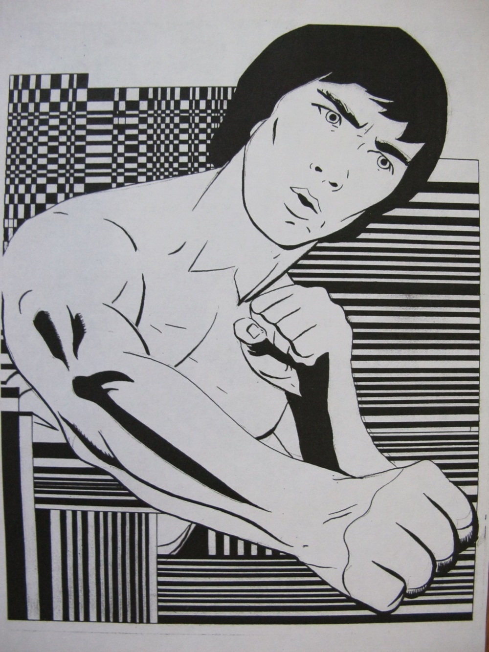 Bruce Lee Pen and Ink on Paper 8.5 X 11