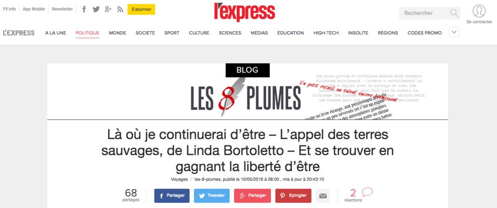 Blog Les 8 plumes - L'Express - Juin 2016 (Lien)