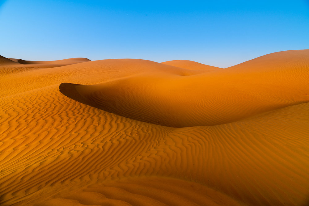 Getting a blue sky and orange sand is tricky. They're at opposite ends of the color spectrum.