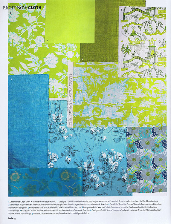 Quadrille Paradise Garden in turquoise on pistachio