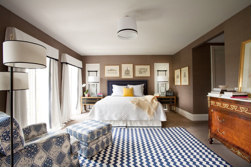 master-bedroom-blue-zigzag-rug-black-white-window-dressing-antique-chest-grasscloth-wallpaper-diane-bergeron.jpg