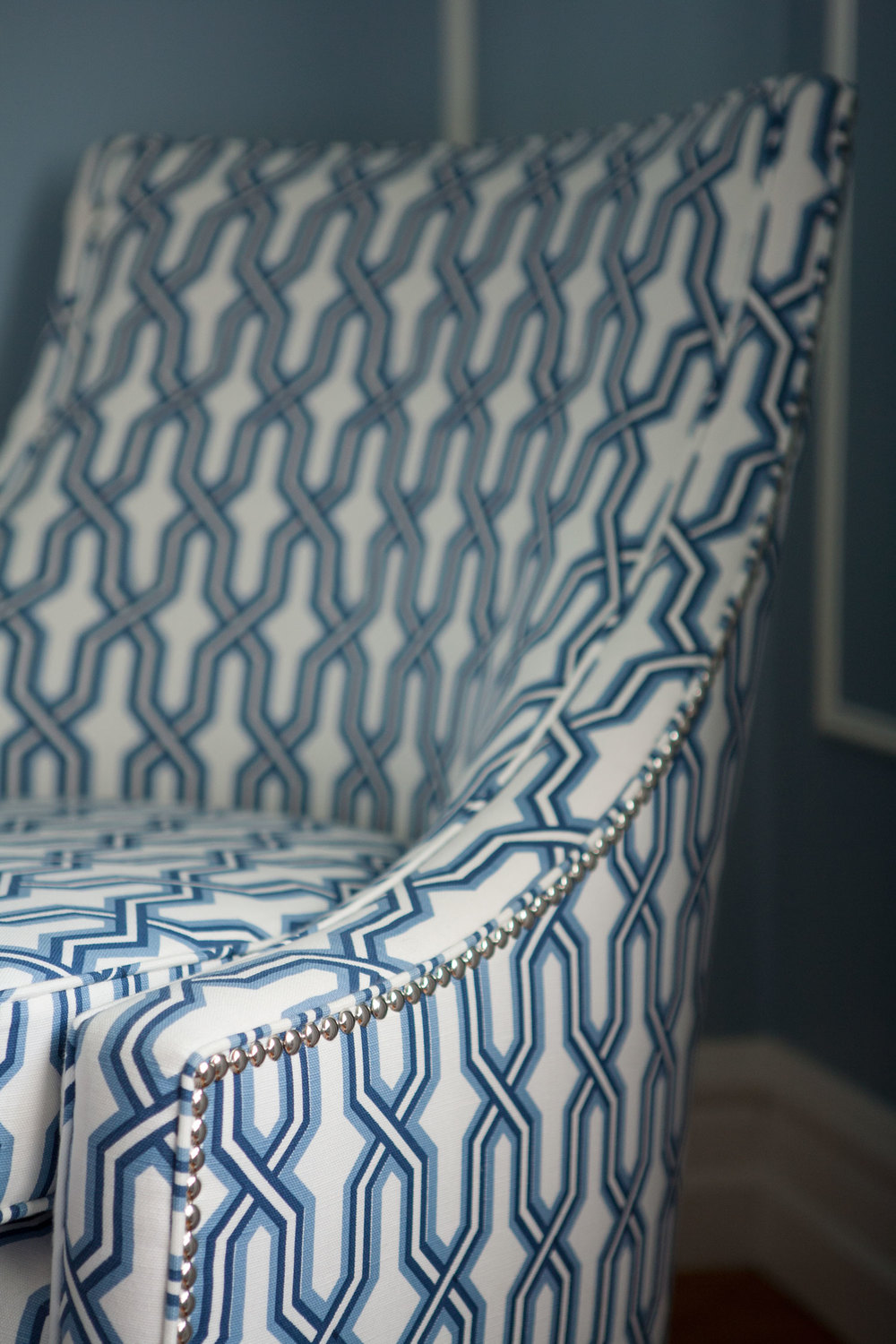 quadrille-fabric-blue-white-bedroom-chair-nickel-studs-diane-bergeron.jpg