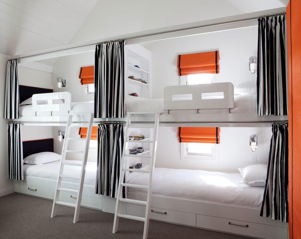 Portfolio interior design diane bergeron interiors - Four Bunk Bed Navy White Stripe Curtain Burnt
