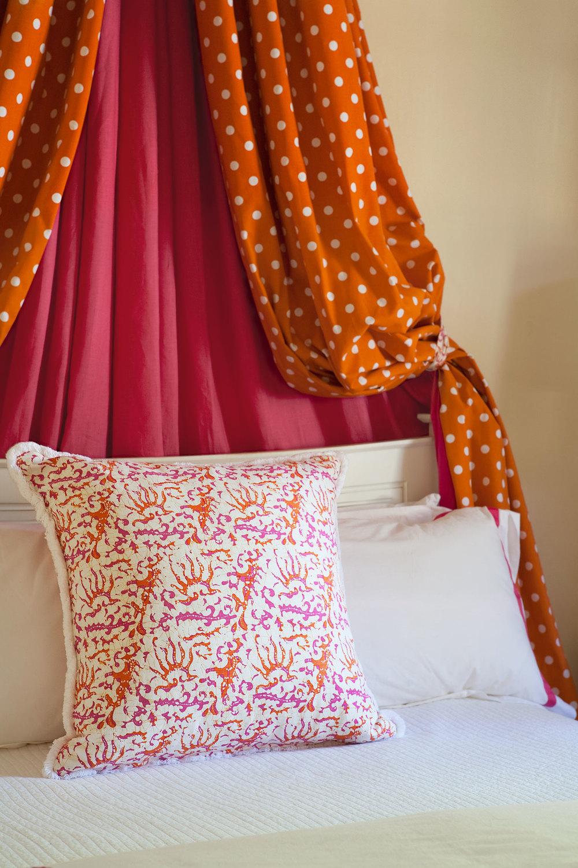 Portfolio interior design diane bergeron interiors - Orange Polka Dot Bed Canopy Quadrille Cushion White