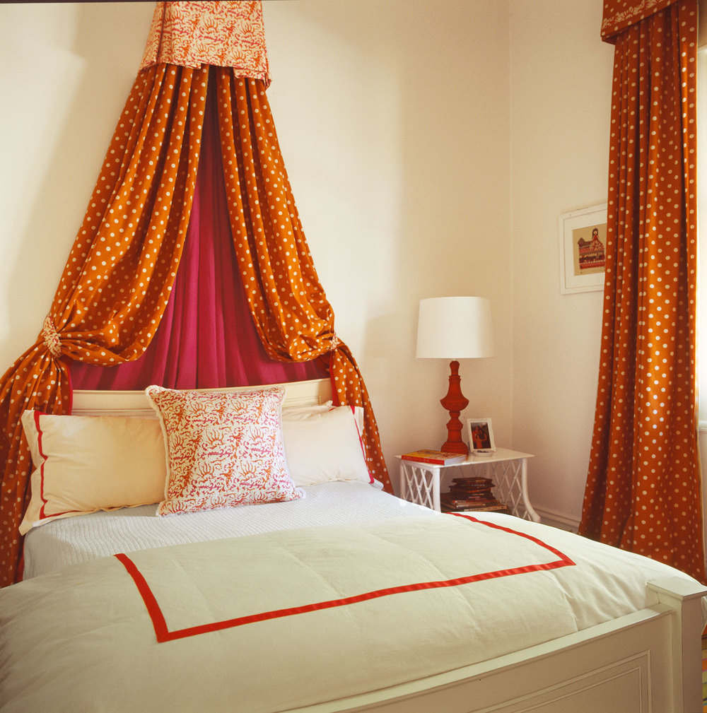 quadrille-cushions-orange-polka-dot-bed-canopy-red-custom-white-bedlinen-diane-bergeron.jpg