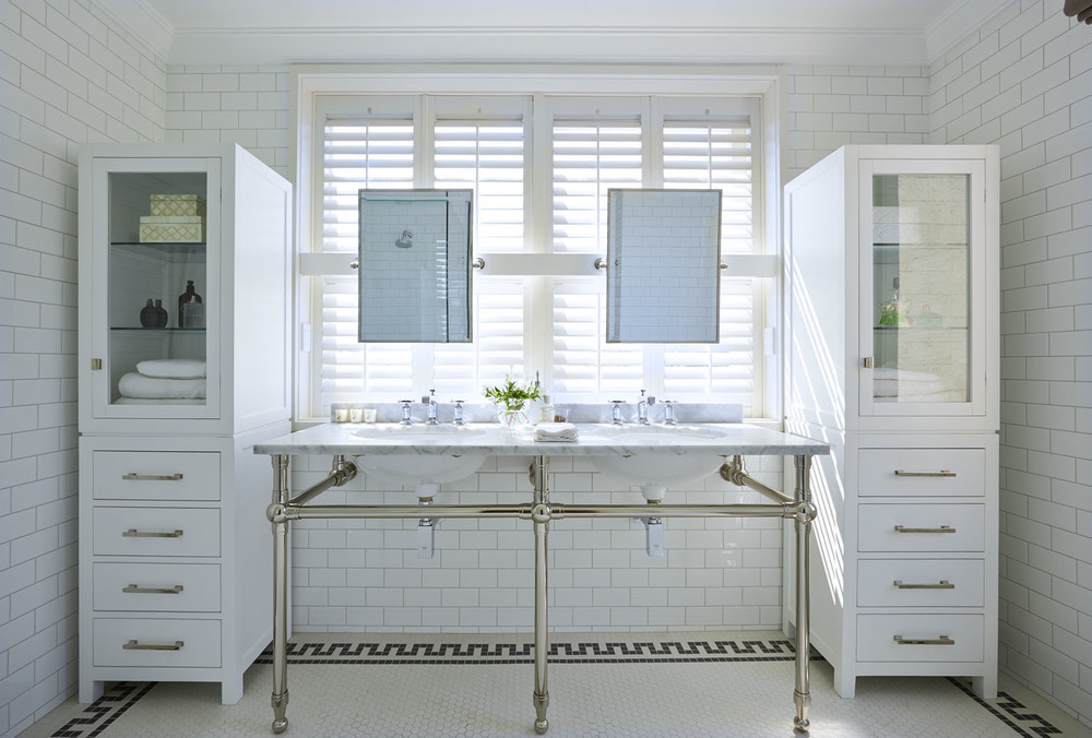 Hex and Subway tile bathroom
