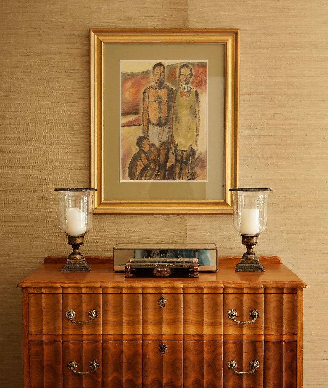 Portfolio interior design diane bergeron interiors - Antique Chest Traditional Art Glass Bronze Hurricane Grasscloth