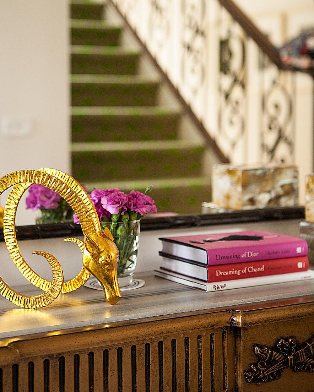 Portfolio interior design diane bergeron interiors - Antique Cabinet Chest Vintage Gold Deer Horns Chanel