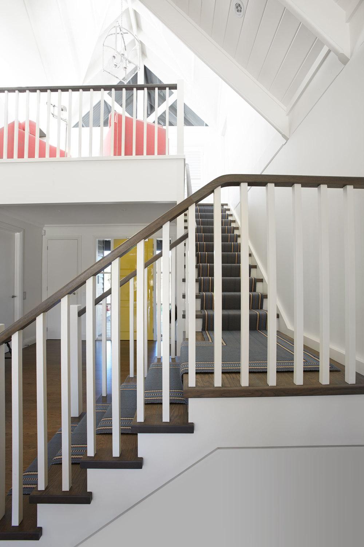 Portfolio interior design diane bergeron interiors - Beach House White Timber Staircase Grey Blue Runner