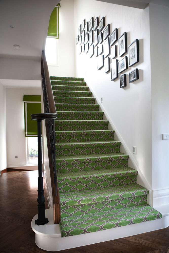 green-printed-staircase-runner-timber-floorboards-gallery-prints-roman-blind-diane-bergeron.jpg