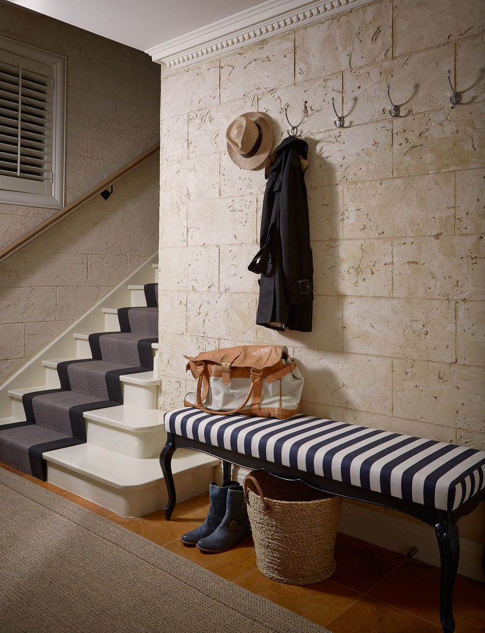 rustic-white-wall-navy-white-stripe-bench-sisal-rug-black-grey-staircase-runner-hooks-diane-bergeron.jpg