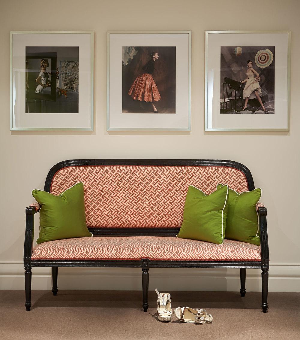 Portfolio interior design diane bergeron interiors - Salmon Pink Fabric Settee Black Lacquer Exposed Frame
