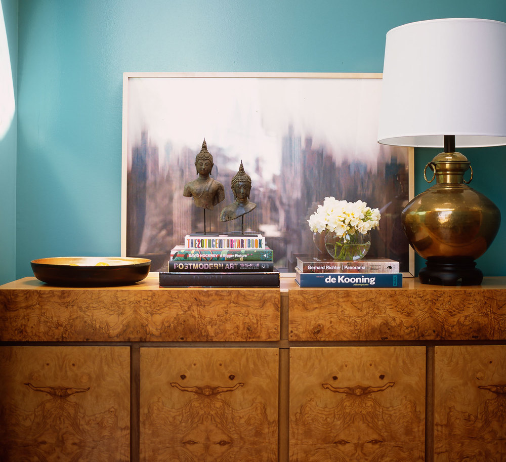 turquoise-aqua-blue-wall-entry-burle-wood-console-chest-gold-brass-vintage-table-lamp-buddha-books-print-diane-bergeron.jpg