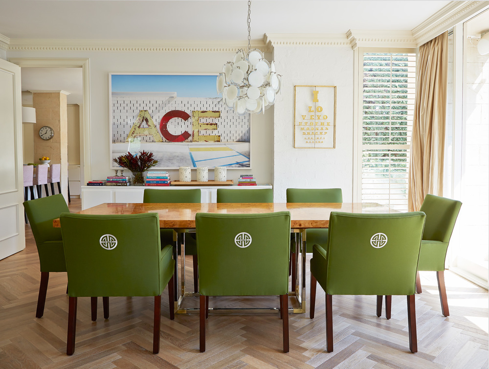 Dining room interior design diane bergeron interiors for Printed upholstered dining chairs