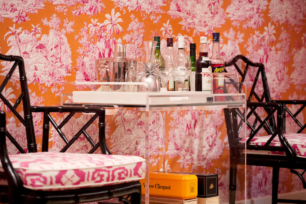orange-pink-toile-wallpaper-vintage-faux-bamboo-chair-lucite-bar-cart-white-lacquer-tray-diane-bergeron.jpg