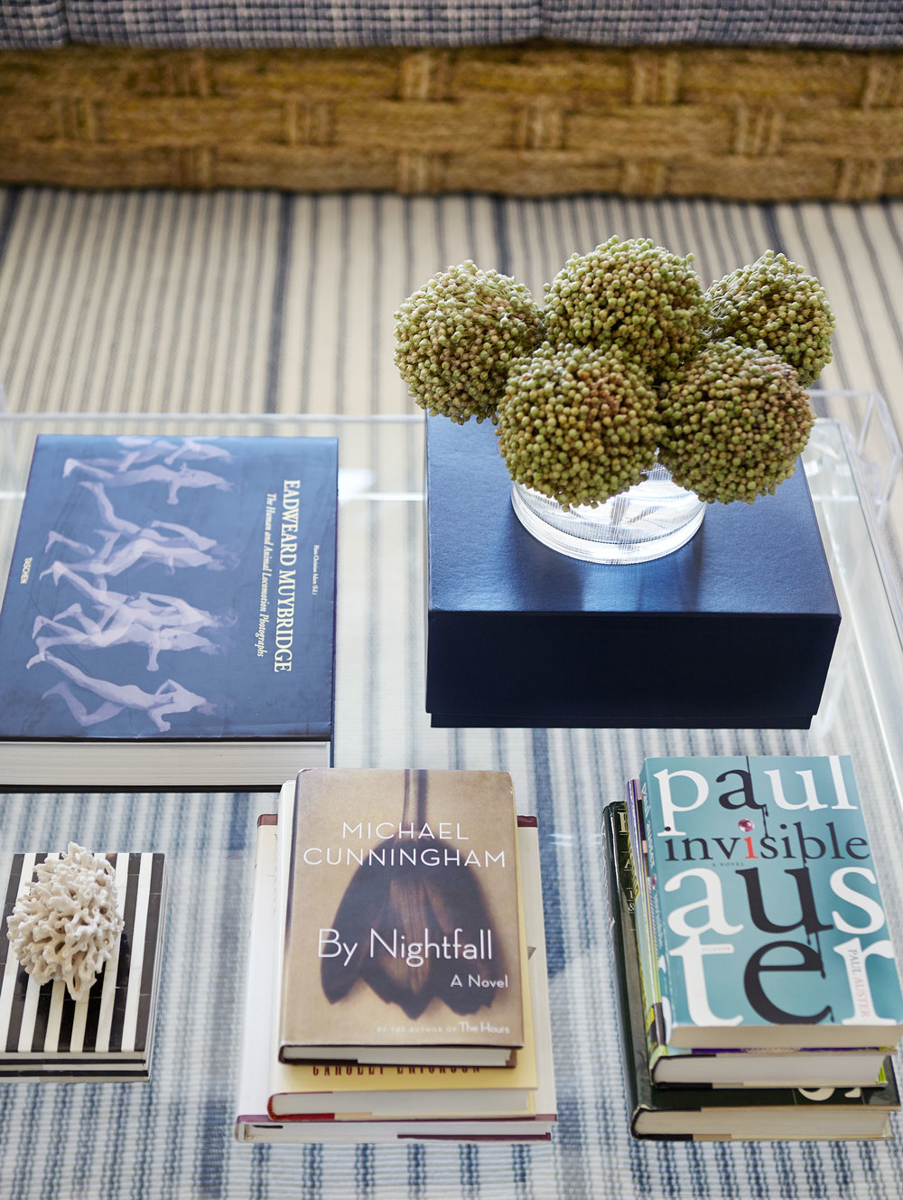 lucite-coffee-table-vintage-book-display-white-coral-stripe-rug-diane-bergeron.jpg