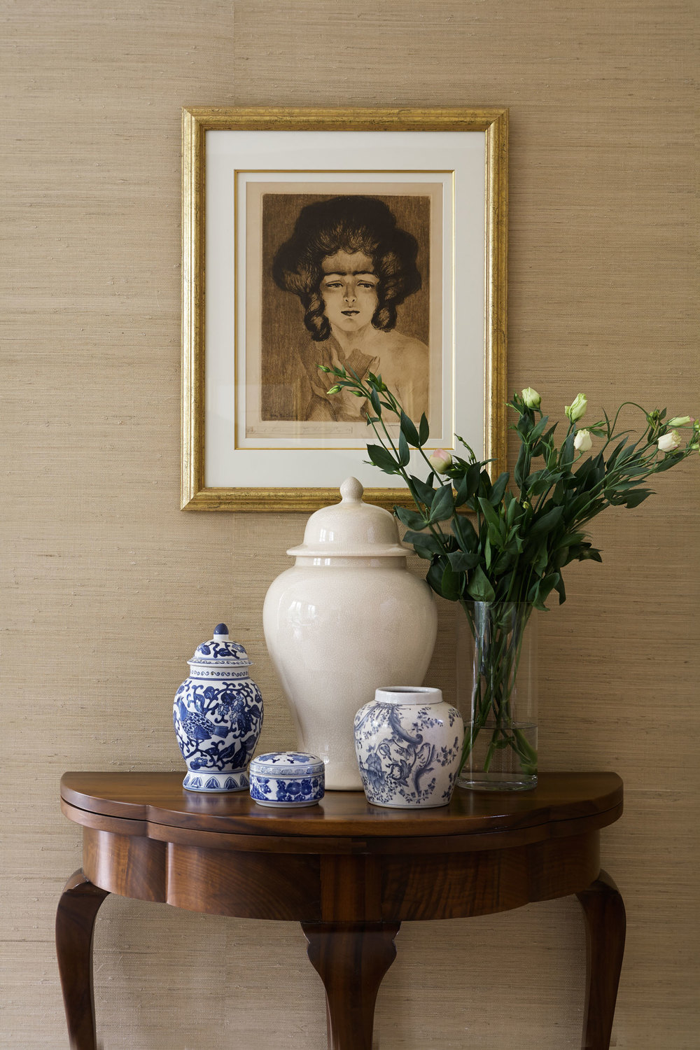 walnut-timber-demilune-console-lady-print-gold-frame-chinese-urns-diane-bergeron.jpg