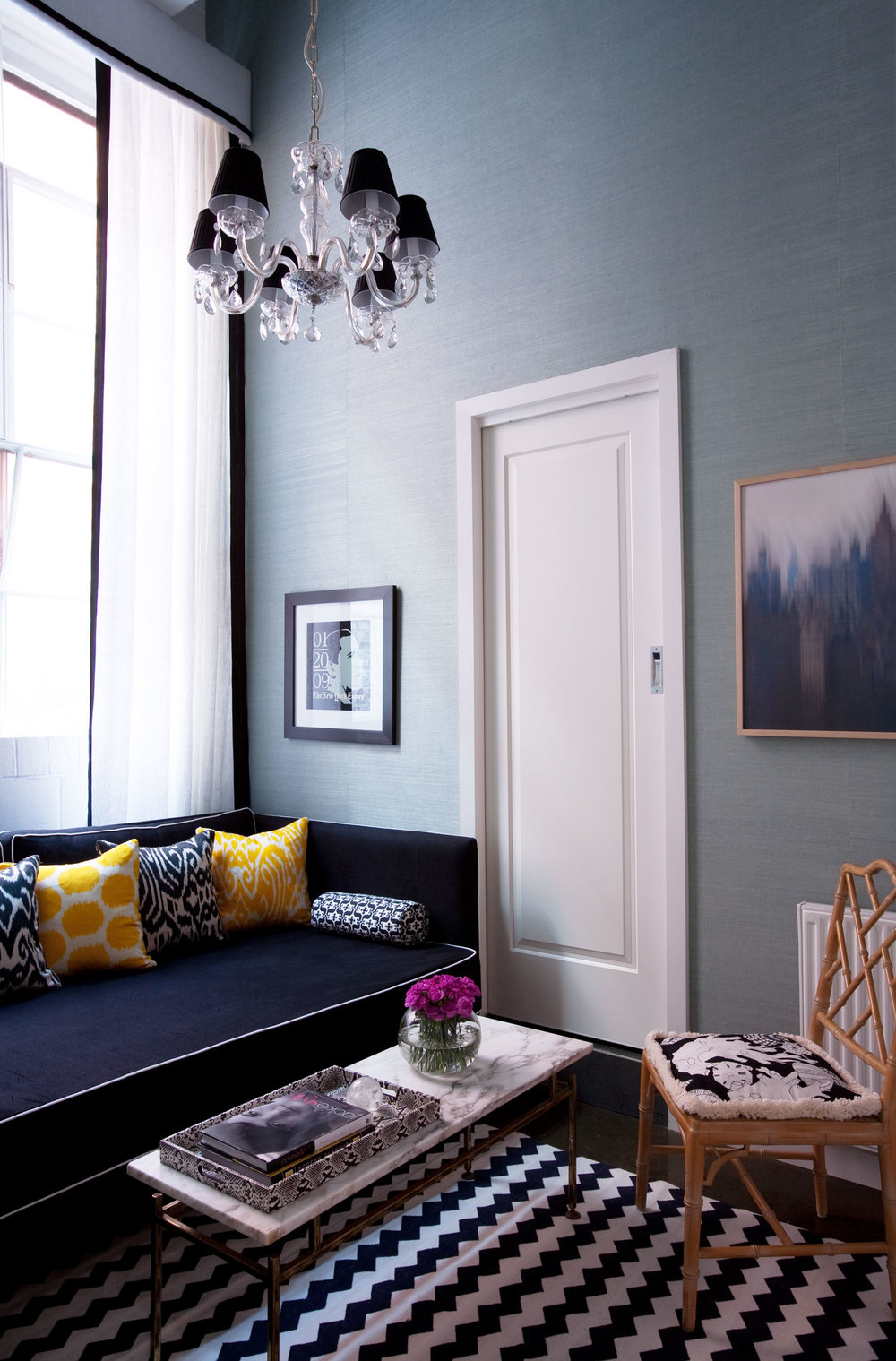 Living room interior design diane bergeron interiors Light grey and navy bedroom