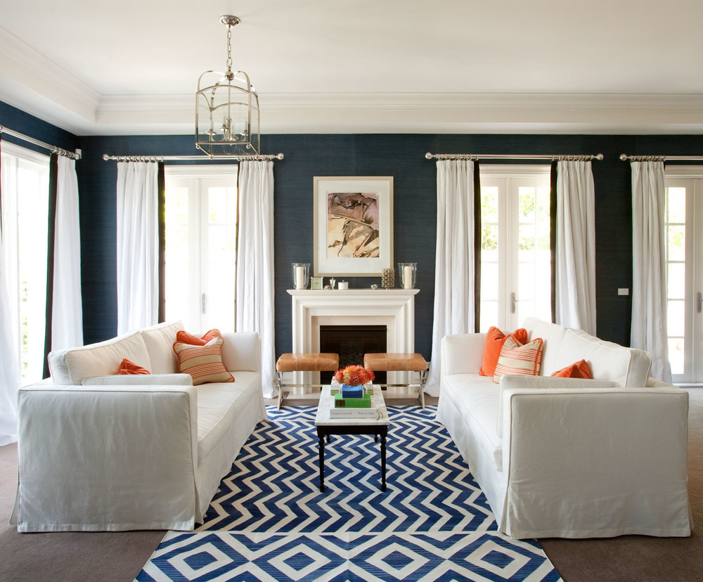 outstanding navy white living room | Living Room | Interior Design | Diane Bergeron Interiors
