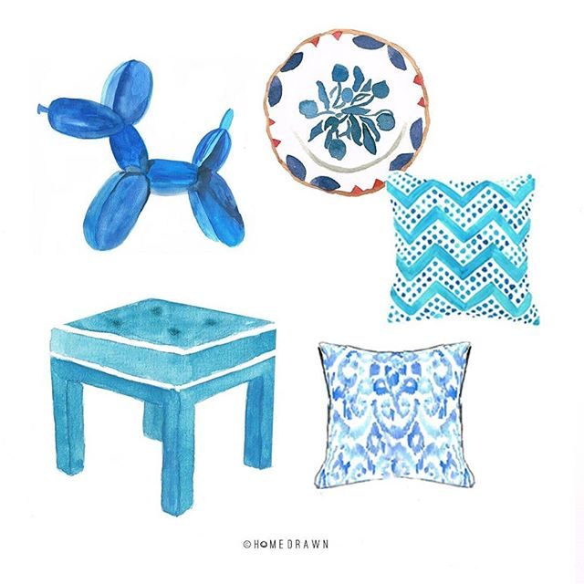 How stunning is this little collection of blue homewares including my Lexi Ottoman by the clever @homedrawn ? There's something quite special about a watercolour sketch, which is why I have used the medium to create many of my fabric and wallpaper designs.