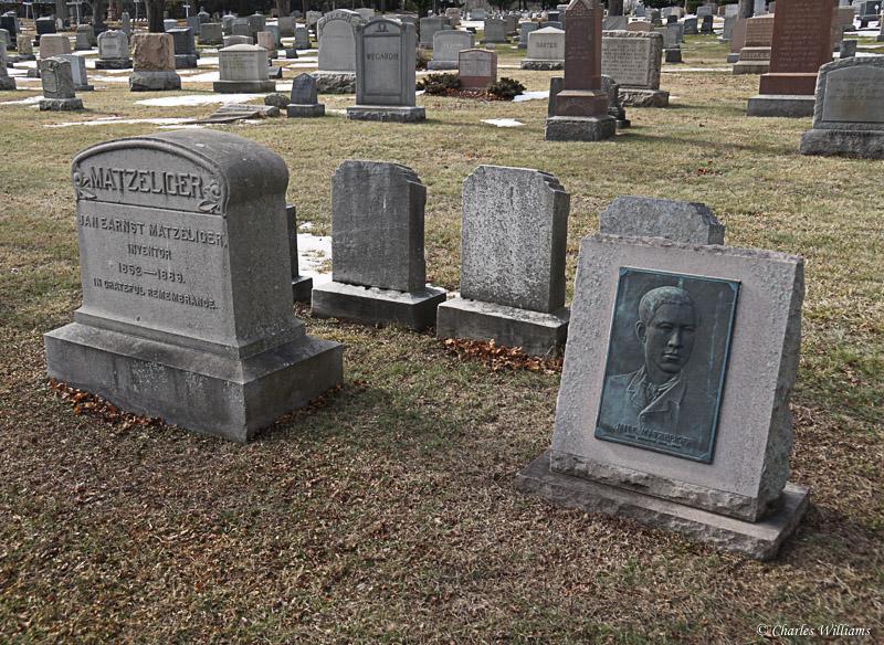 Matzeliger's double memorial stones in Lynn, Massachusetts