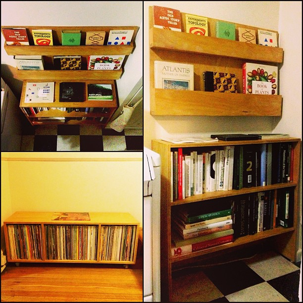 BOOK RACK, BOOK SHELF, ROLLING RECORD STORAGE BENCH