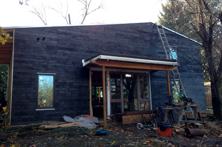 Portland Small Family House - charred burnt cedar siding