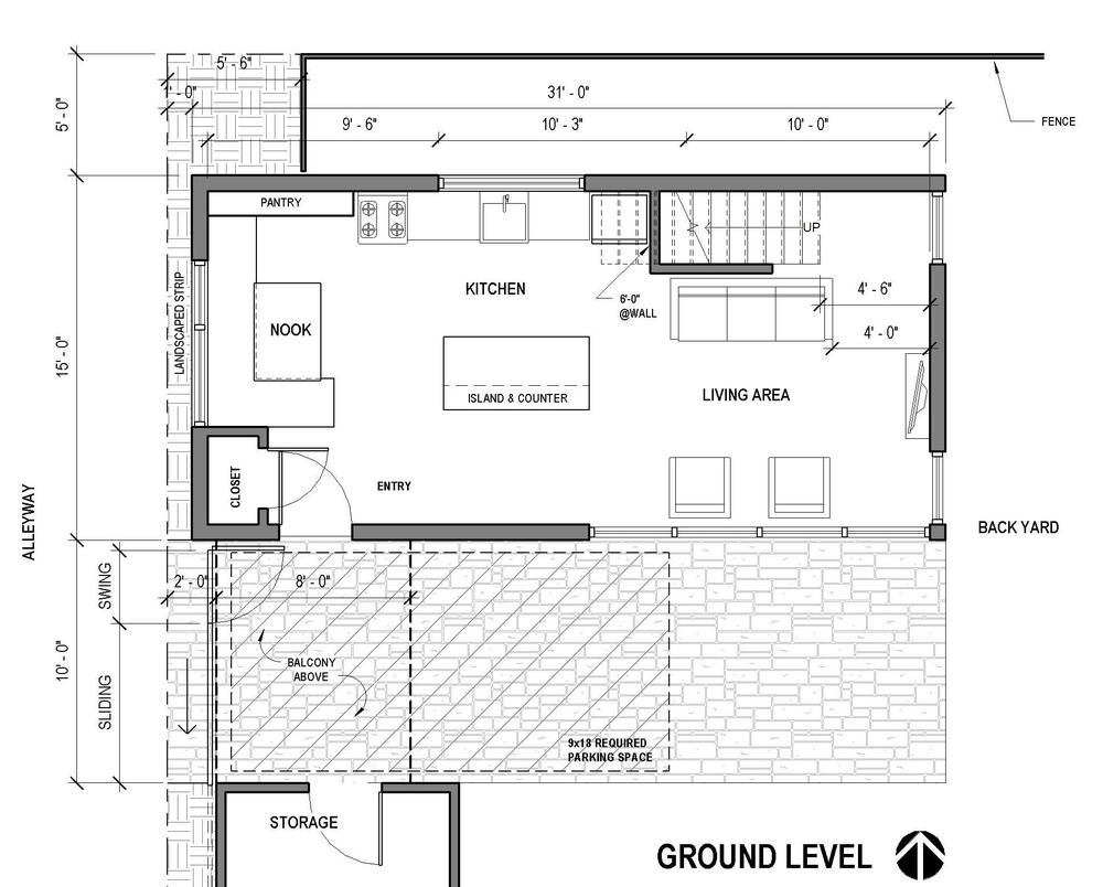 Alley Bike ADU - Portland - ground floor plan