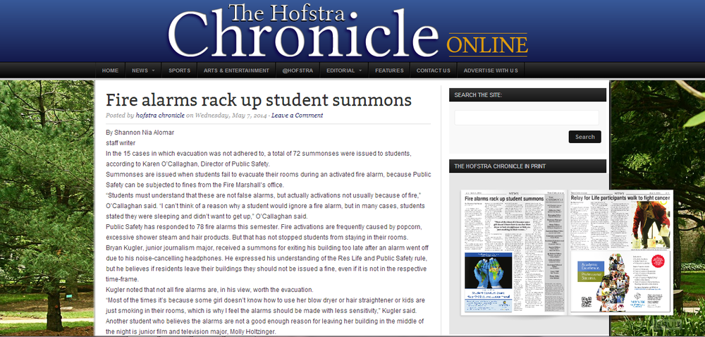 Click the photo to see this article on the Hofstra Chronicle's site