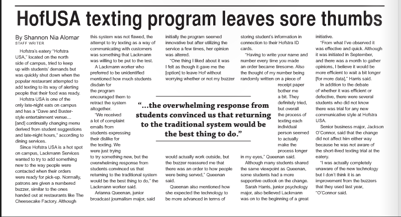 Click here to view the article on the Hofstra Chronicle page.