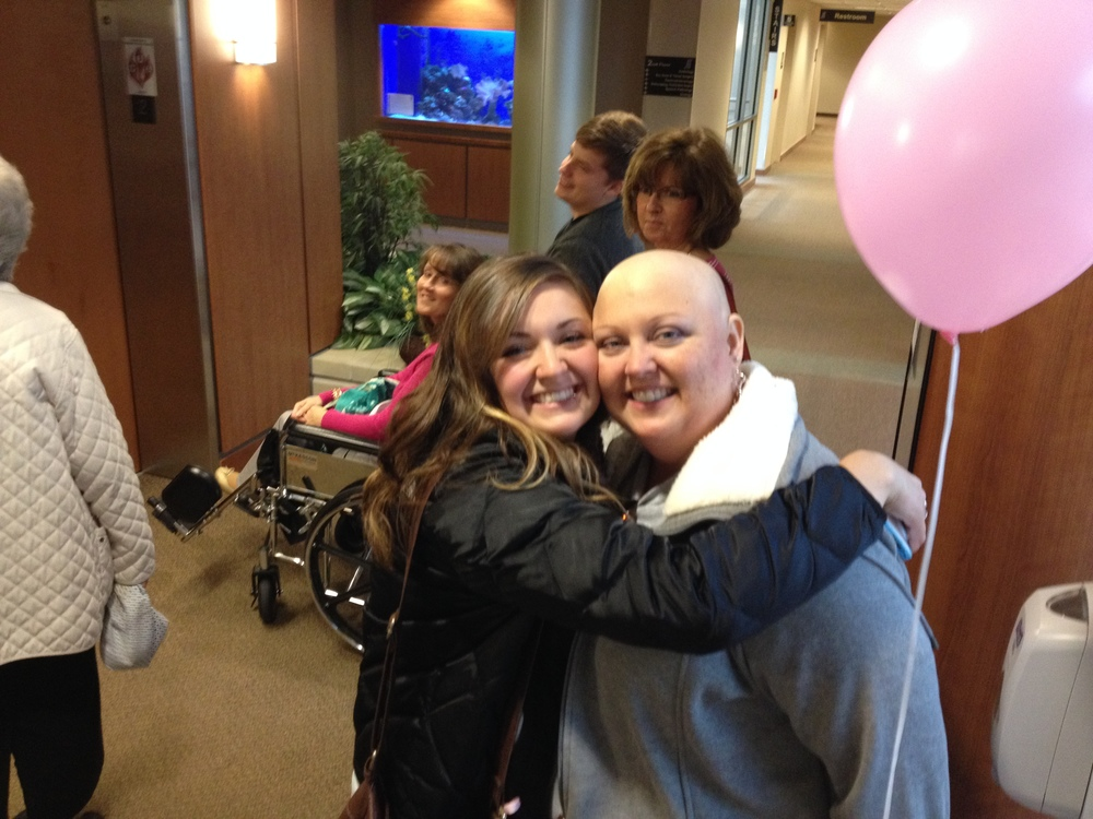 LIV AND LAURA - LEAVING THE CHEMO CENTER...FOR THE LAST TIME