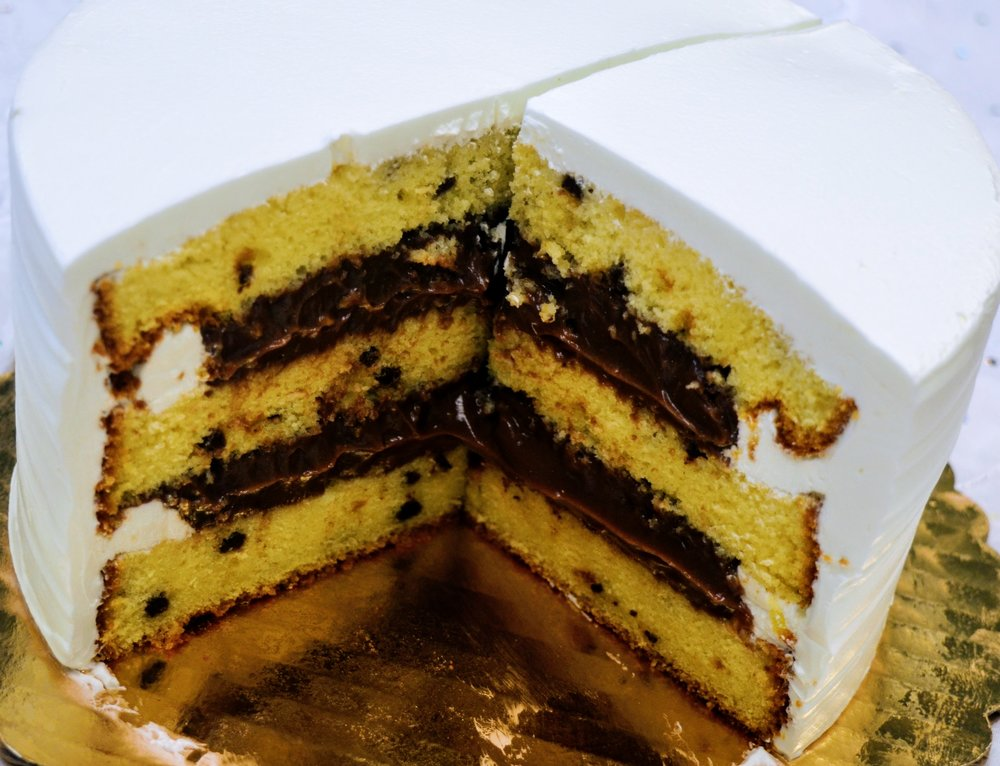 Chocolate Chip Cake with Chocolate Pudding Filling