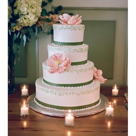 White Wedding Cake with Green Stripping and Pink Flowers.jpg