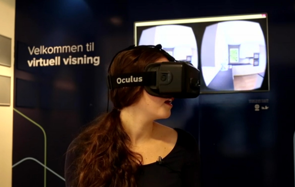 Janne Krågå er på virtuell visning i femte etasje i Kværnerbyen i Oslo