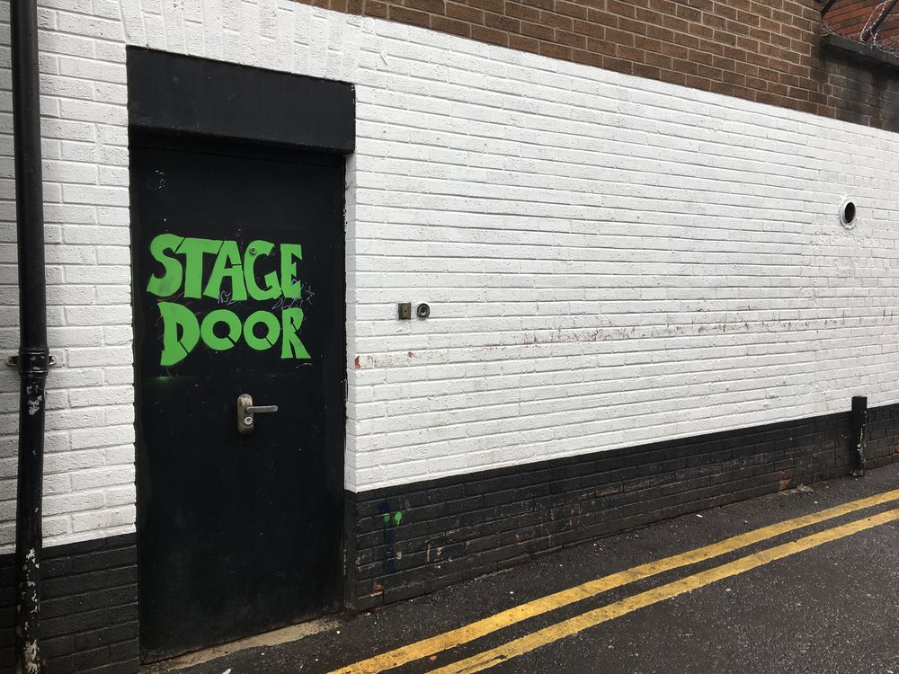 "The Stage Door gets painted with ""Stage Door"""