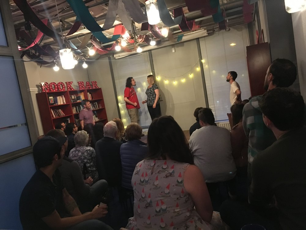 The first improv gig in the Book Bar by Black Sun Improv