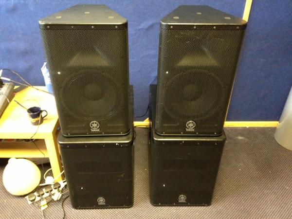 2 x Yamaha DXR12 High/Mid Speakers & DXS12 Subwoofers