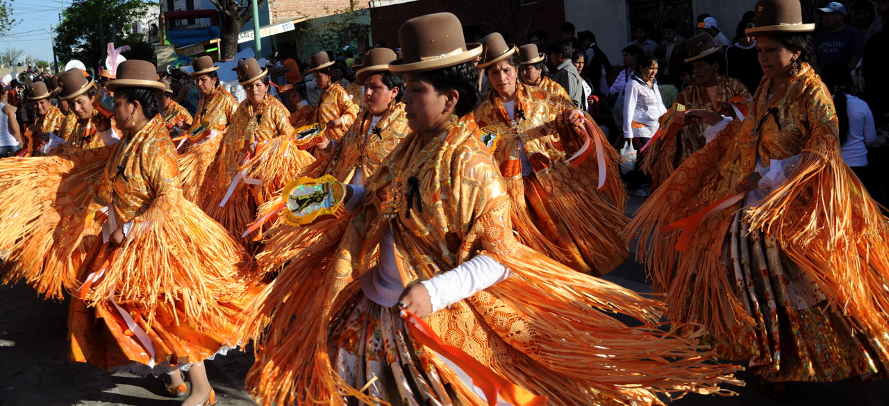 Bolivian female dancers celebrating their culture at a festival in one of the barrios of Buenos Aires, Argentina.