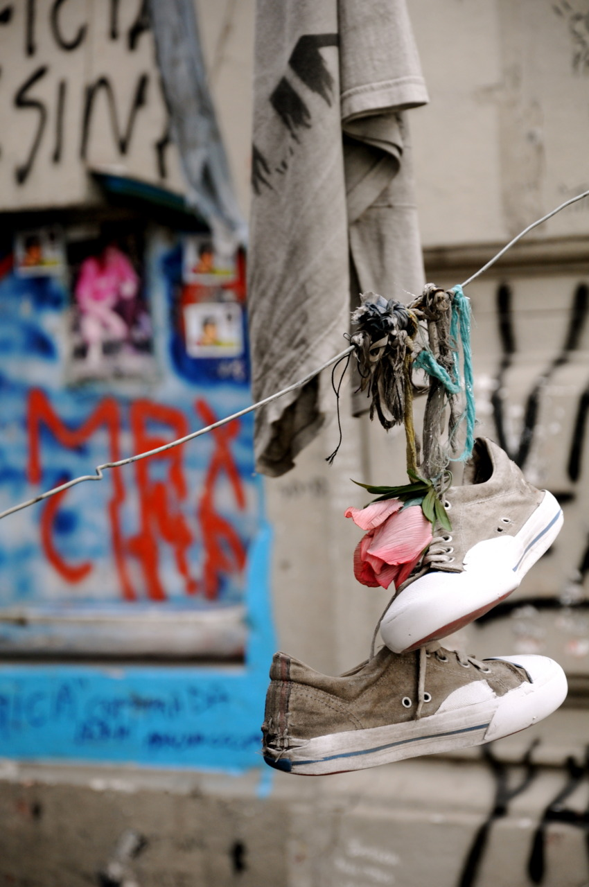 Shoes hanging in the streets of Buenos Aires, Argentina.