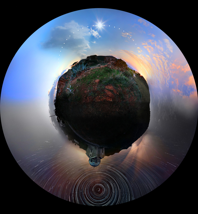 explore-blog: Astounding stereographic projection by Greek photographer Chris Kotsiopoloulos combines 24 hours into a single panoramic photograph.