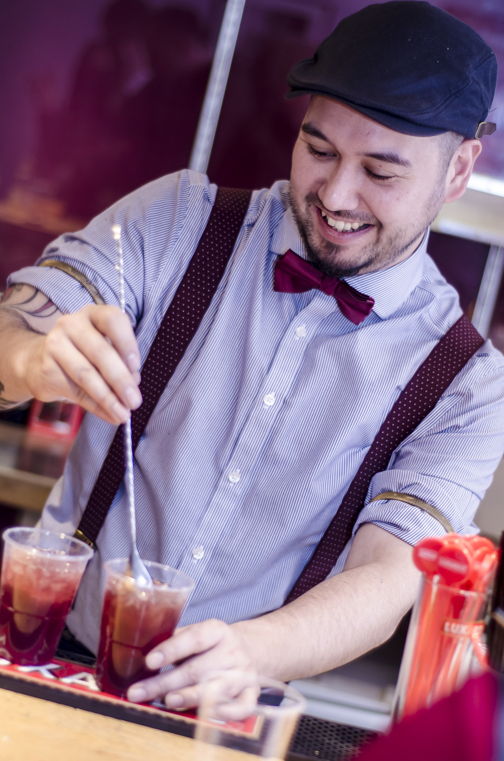 The talented Mister G, mixing and serving The Dosoco Cherry Dowser at the gig. Photo credit: Mike Oliver
