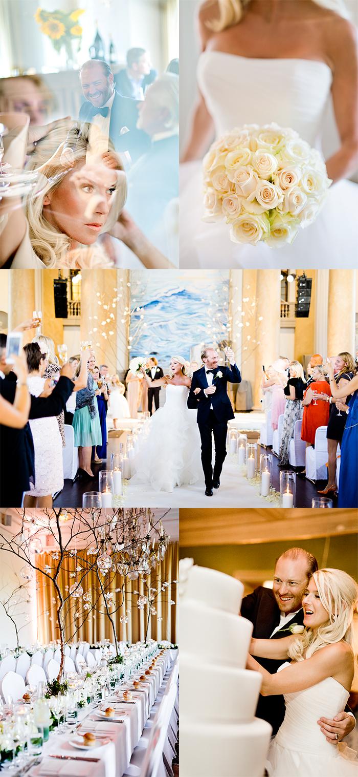 Wedding coordinator: Mariella Gink, WeddingPlanner Stockholm Ceremony: Eric Ericssonhallen Venue: Näsby Slott, Täby, Stockholm Flowers: Johan Munter, Floristkompaniet Cake: Tårtcouture