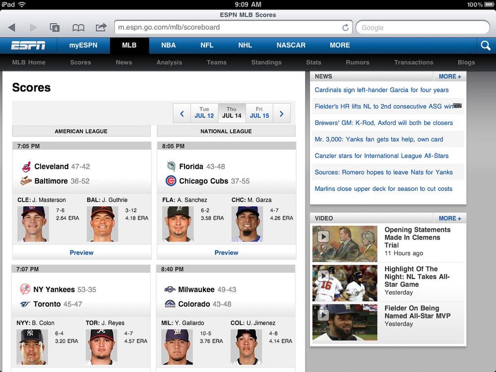 ESPN mobile screenshot - scoreboard