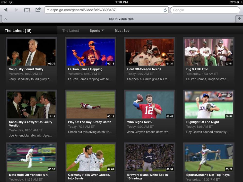 ESPN mobile screenshot - video