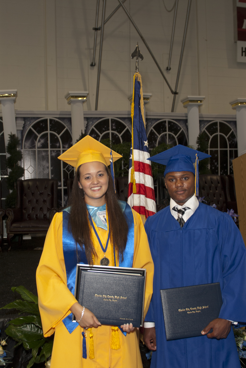 Charles City County High School 2011 Scholarship Recipients, Tevin Adkins and Samantha Spires, at their graduation.