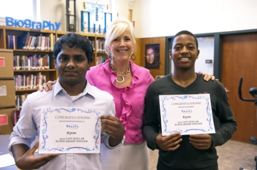 Highland Springs High School 2012 Scholarship Winners, Kranthidhar Bathula and Willie Woodard, with their GRASP advisor, Retsy Kitchen.