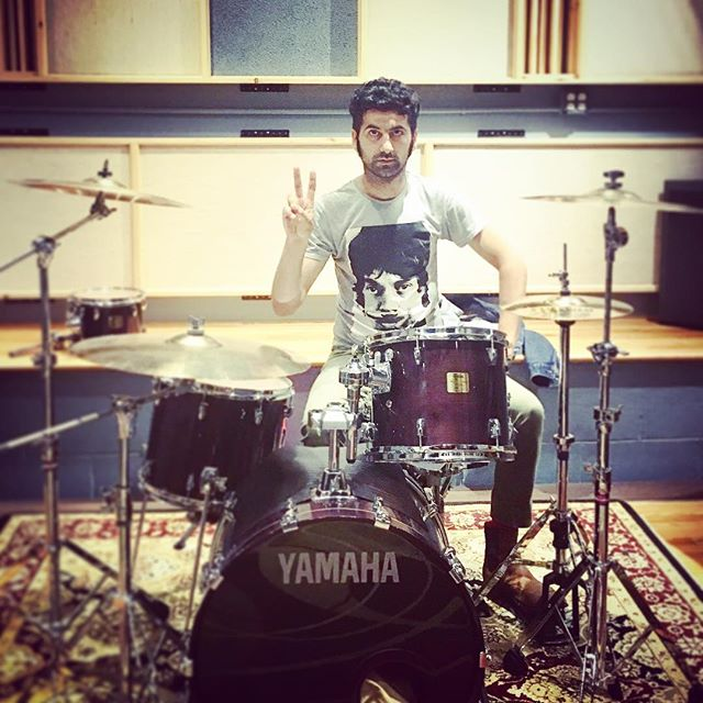 Mister V getting ready for a recording, cool stuff coming soon.  #bestdrummer #thebambir #bambirusatour