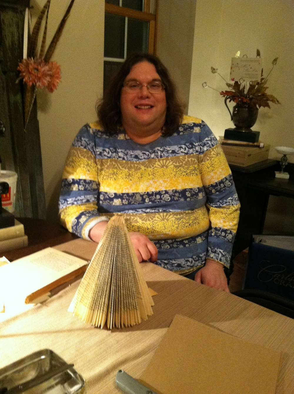 One of my bestest friends, Kathy. Kathy has become more crafty as the years pass. Proud of her paper tree.